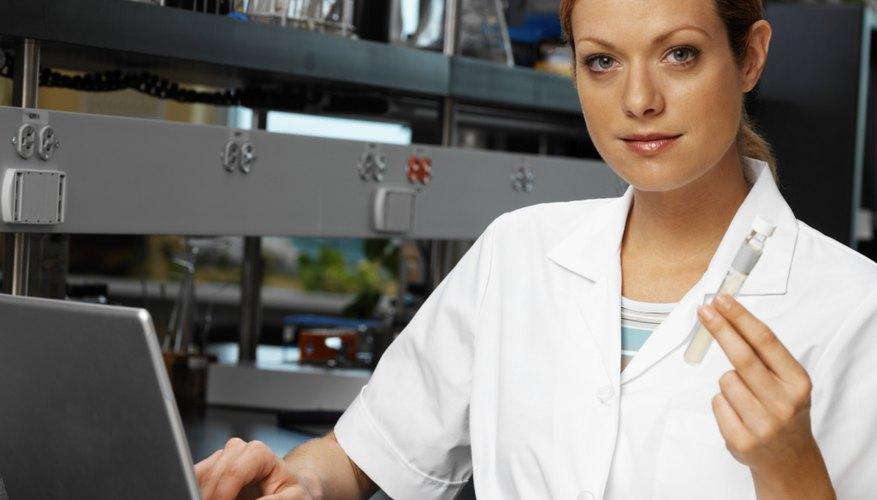 Lab technician registering results
