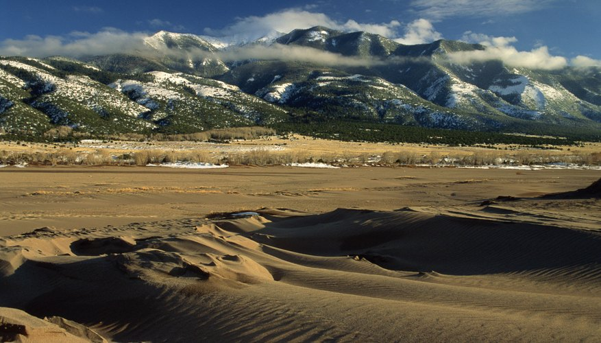 The Great Sand Dunes National Monument is comprised of huge windblown deposits.