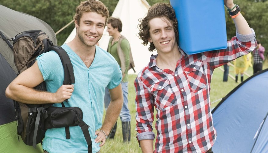 Men at outdoor festival with cooler