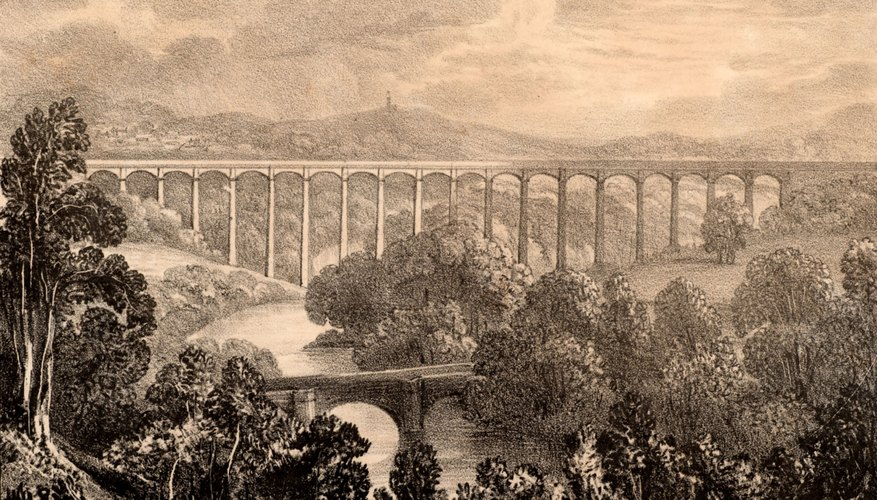 A black and white lithograph print of an aqueduct
