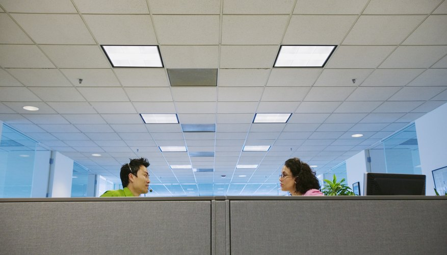 Young businesswoman and businessman talking to each other in an office