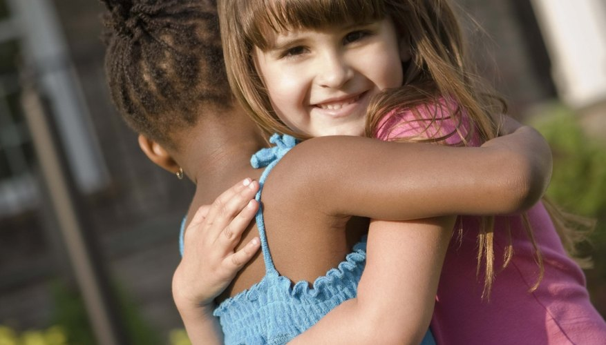 Teach her that a hug goodbye can be okay for best friends.
