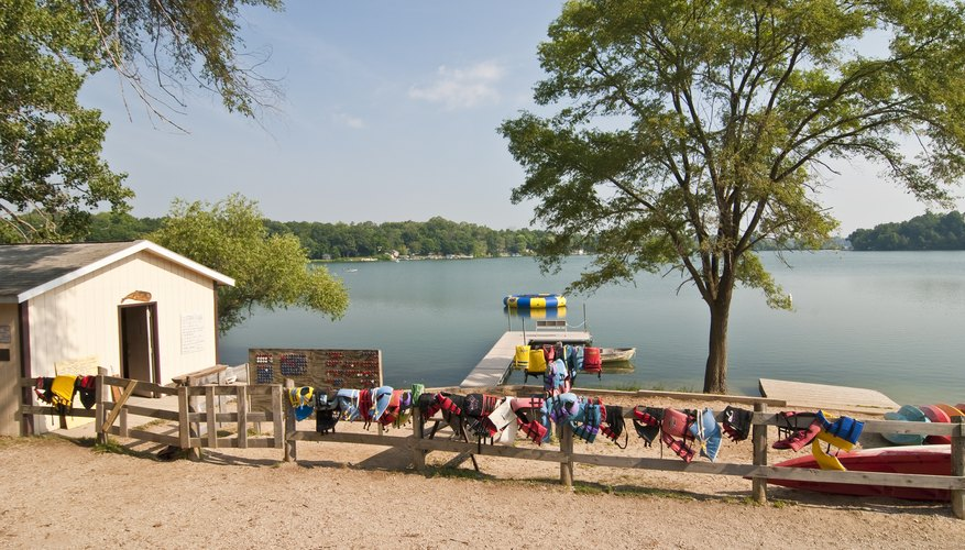 Waterfront scene of a summer camp