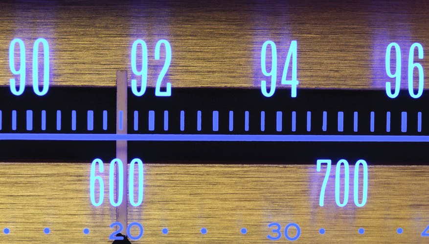 Glowing Radio Dial close-up - 70s classic music player equipment