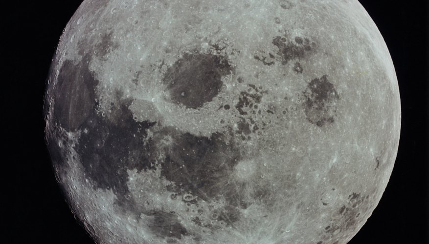 The entire face of the moon is visible during the full moon.