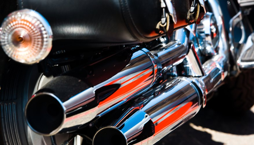 Close-up of exhaust pipes on motorcycle