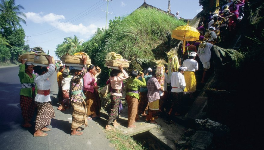 Group of people in a ceremonial procession, Bali, Indonesia