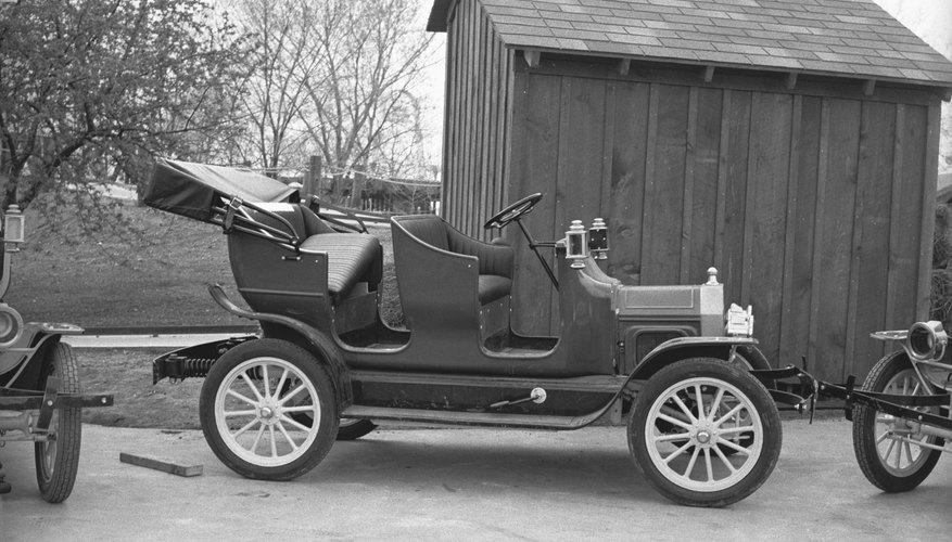 Ford vintage convertible car, (B&W)