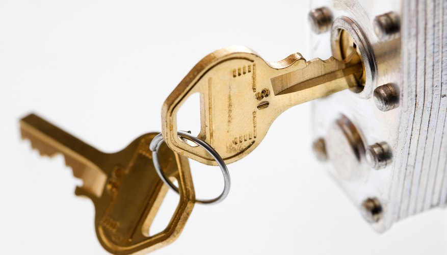 Keys in padlock