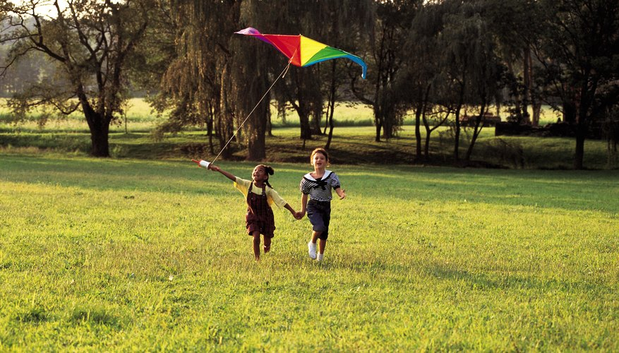 Two girls flying a kite in a field.