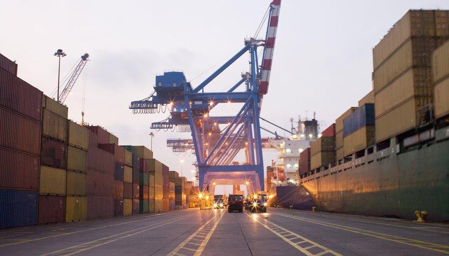 Traffic lanes run through an industrial shipping yard.
