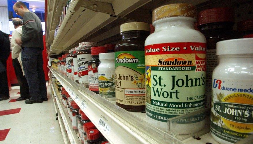 Bottles of St. John's wort on store shelf