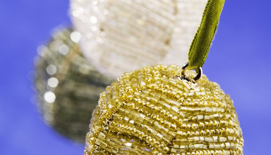 Beaded ornaments are easy to create in bell or ball shapes