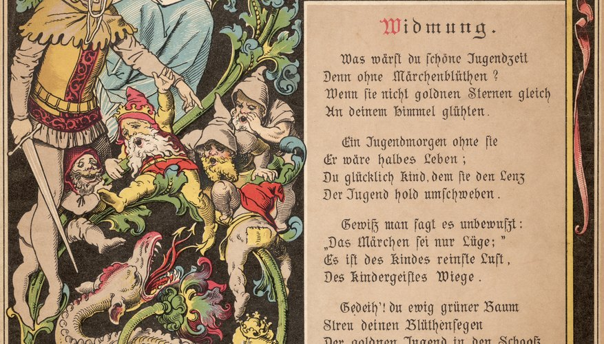 Detail of front cover of Grimm's fairy tale of