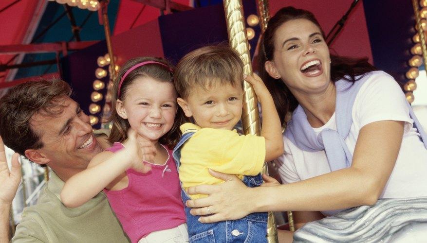 A family on a ride at a fair.