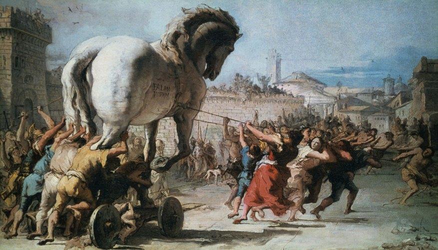 Pintura del caballo de madera de Troya.