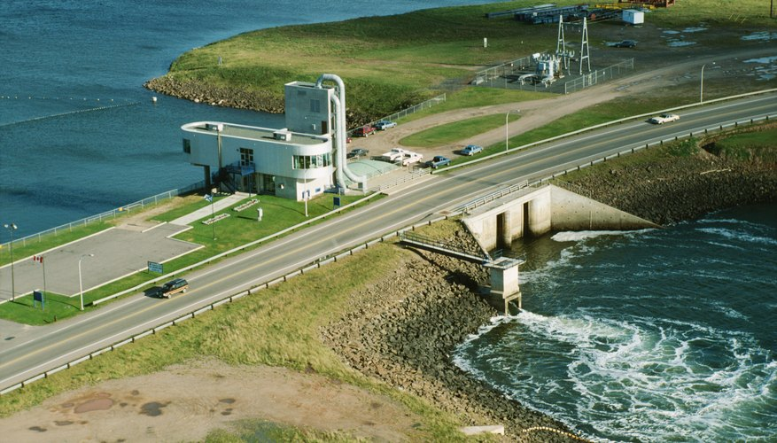 A high-angle view of a hydroelectric plant in Canada.