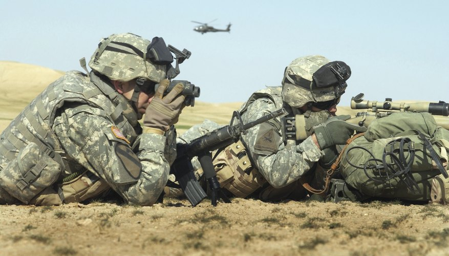 U.S. Army soldiers conduct a combat patrol.