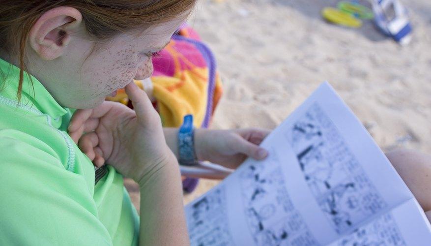 Child Reading on the Beach