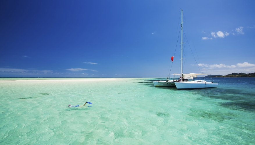 An image looking onto a catamaran in the Indian Ocean.