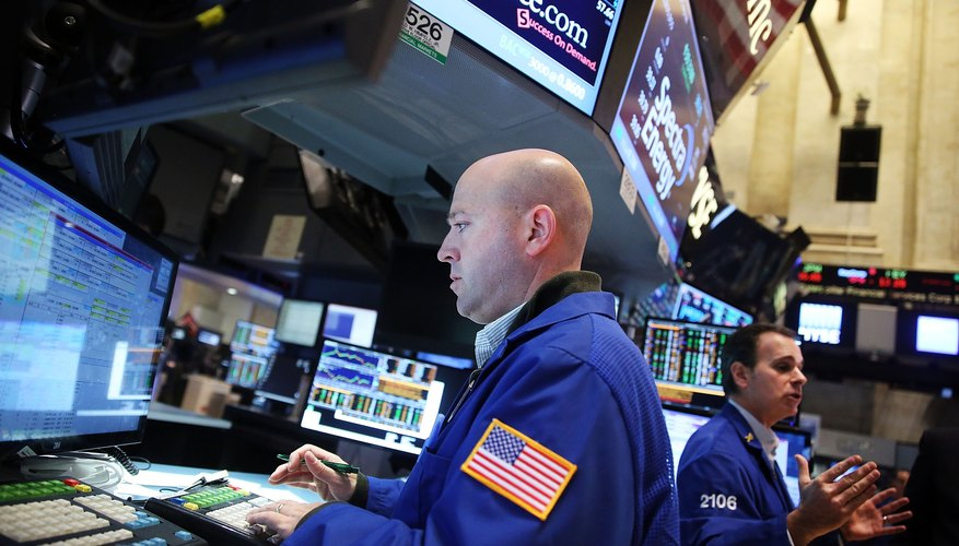 Stock trader on the floor of the New York Stock Exchange.