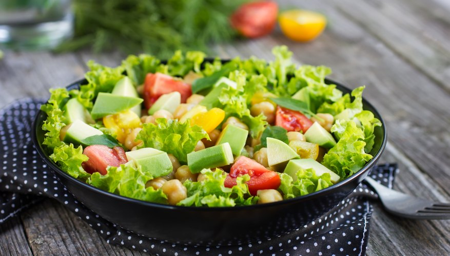 Salad with chopped avocado