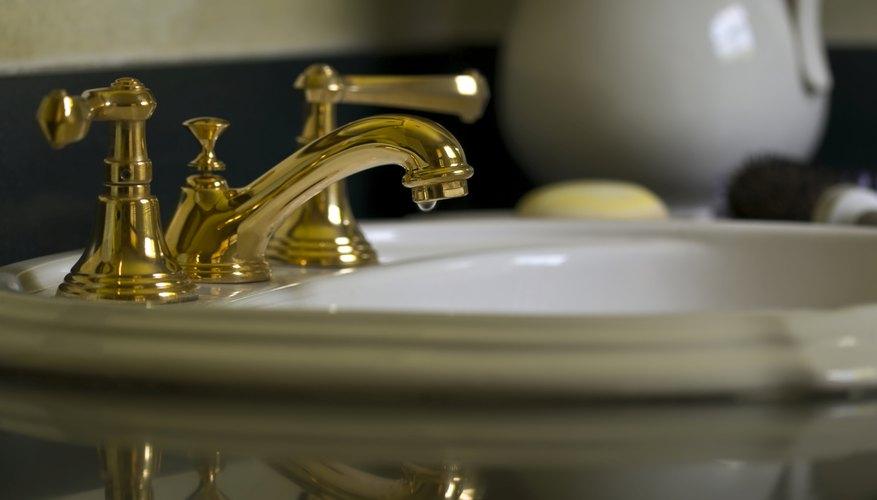 A brass bathroom faucet.