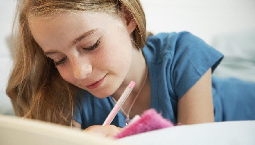 Girl writes in journal