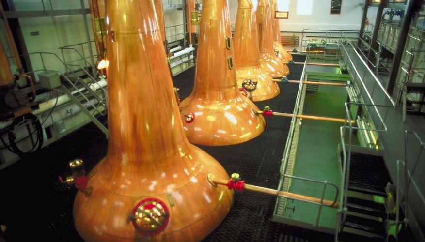 Distilleries often produce and distill liquors in metal kettles.