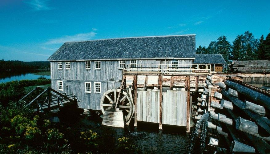 Water wheel at a rustic lumber mill in Sherbrooke, Nova Scotia, Canada.