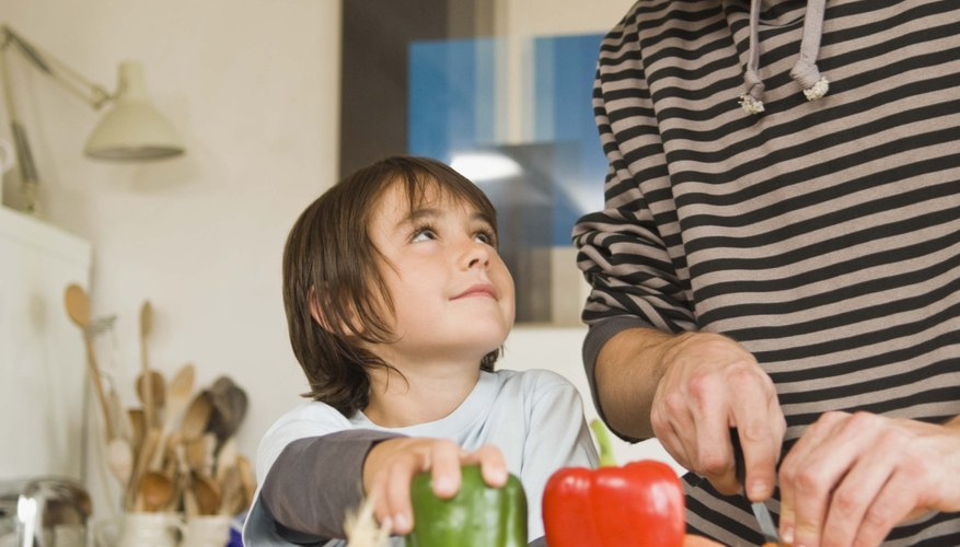 Talking with children during daily activities helps them learn new words.