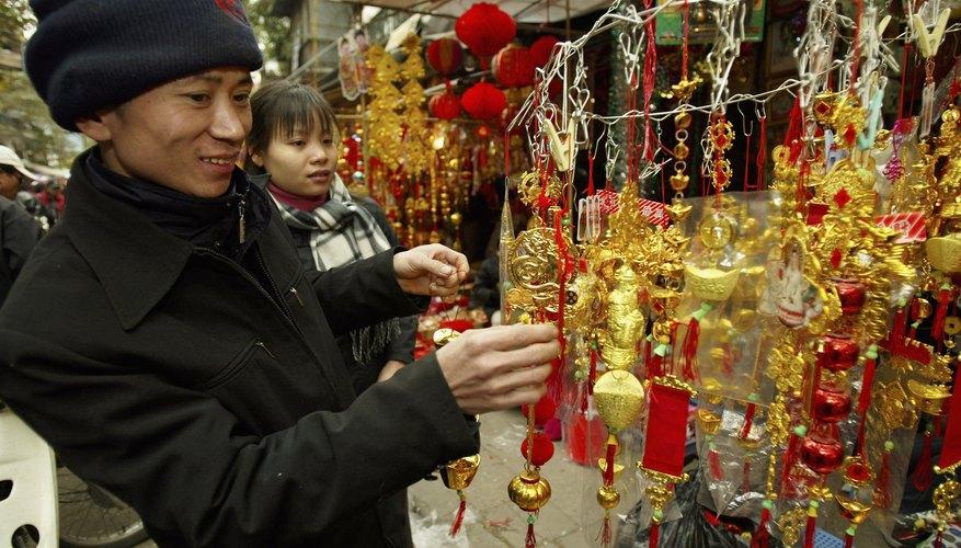 Las decoraciones son una parte importante en las festividades Tet de Vietnam.