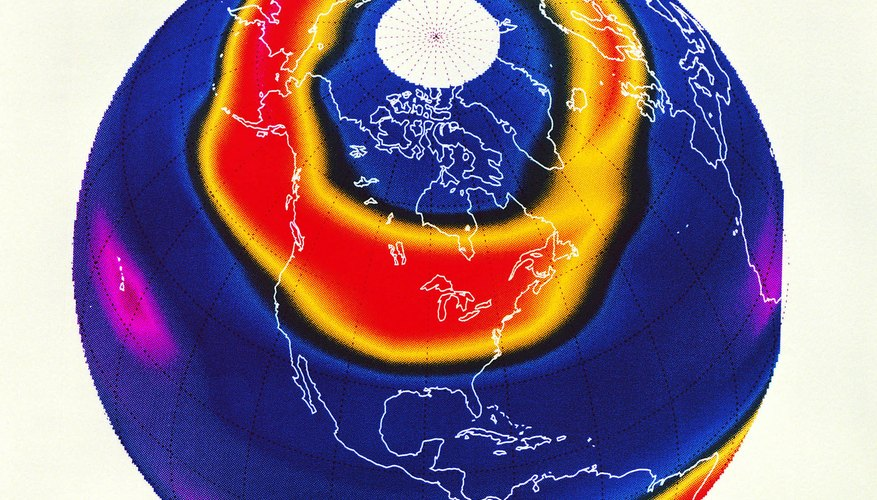 Chlorine contamination of the upper atmosphere produces polar ozone holes.