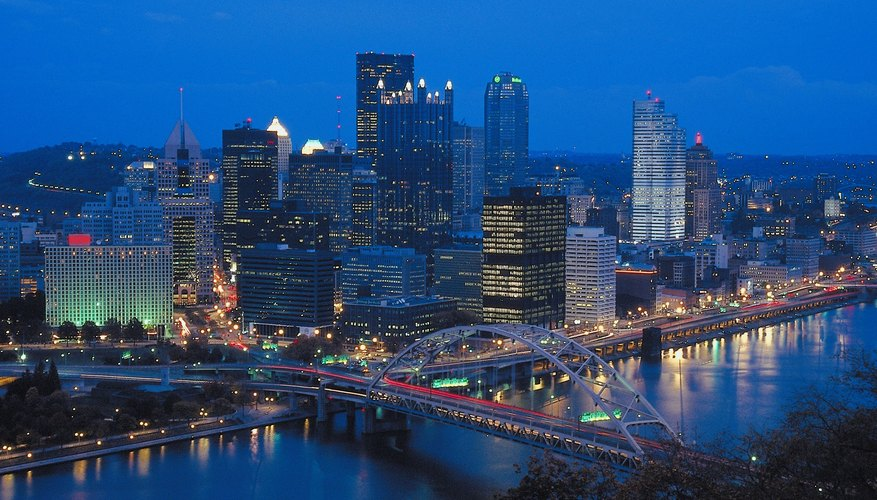 A romantic date in Pittsburgh can include enjoying views of the city at night.