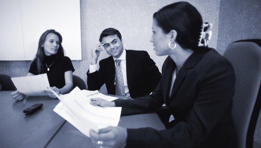 Businesspeople having meeting (B&W)