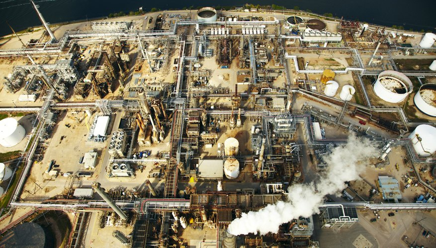 Aerial shot of a Houston, TX oil refinery