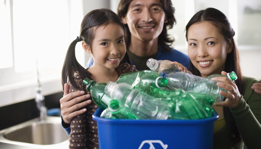 Recyclable plastic items are numbered according to the type of resin they are made with.