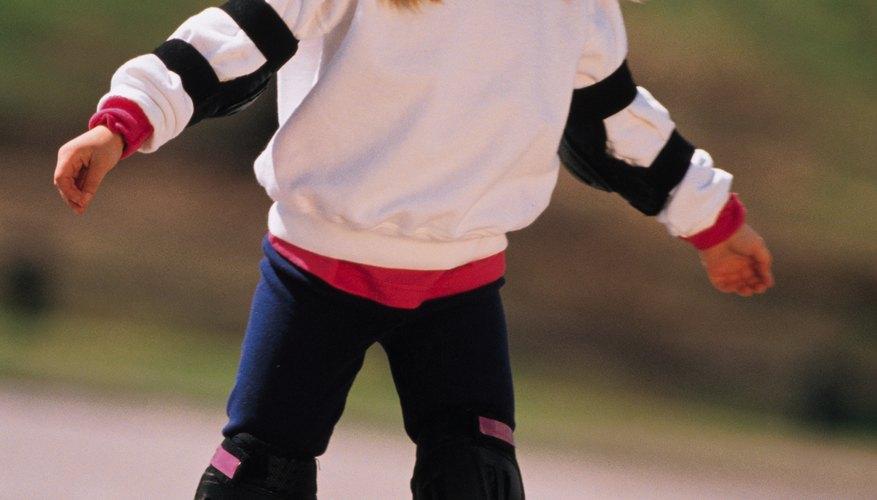 Children should always wear a helmet when they're rollerblading.