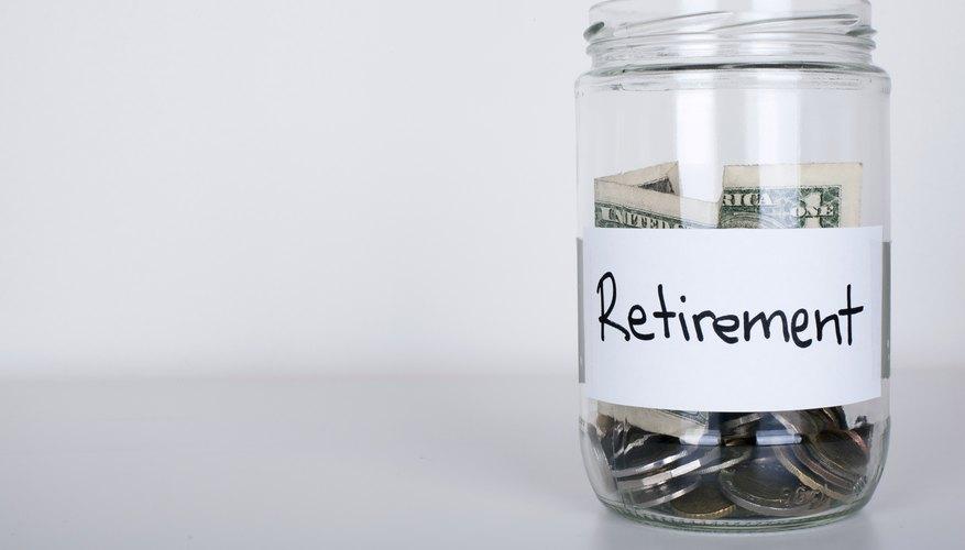 A money jar with retirement savings.