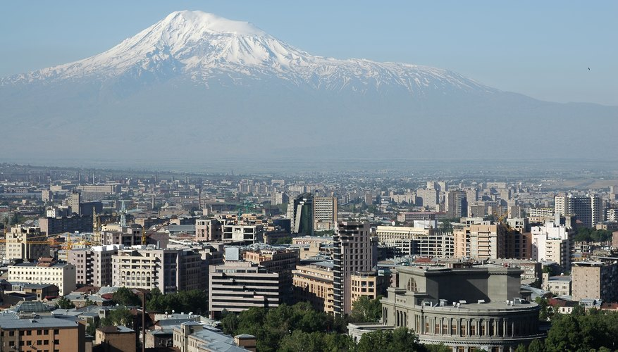 View on Yerevan city center and Mt.Ararat