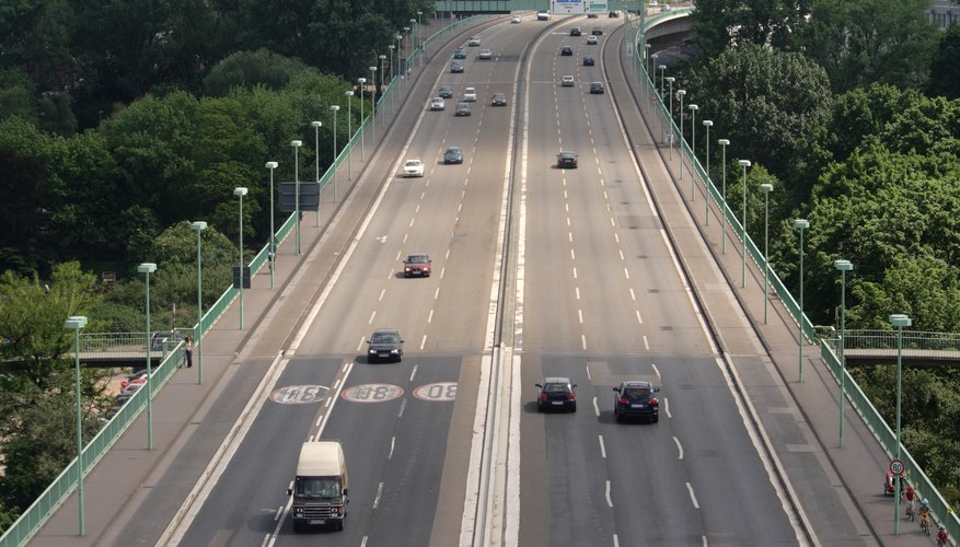 Cars driving on a bridge in Germany.