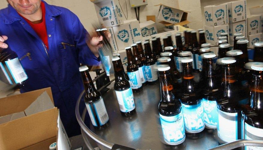 Beer bottles being packaged