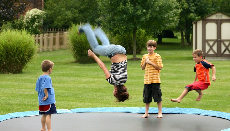 Stake your trampoline to the ground for protection.
