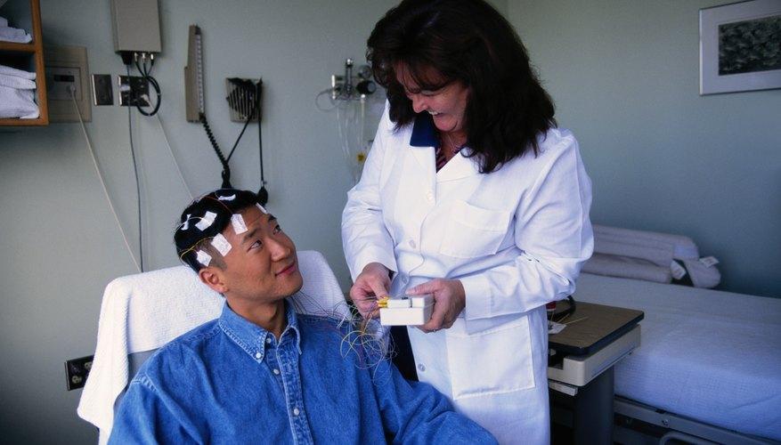 EEG test to monitor brain waves during a seizure