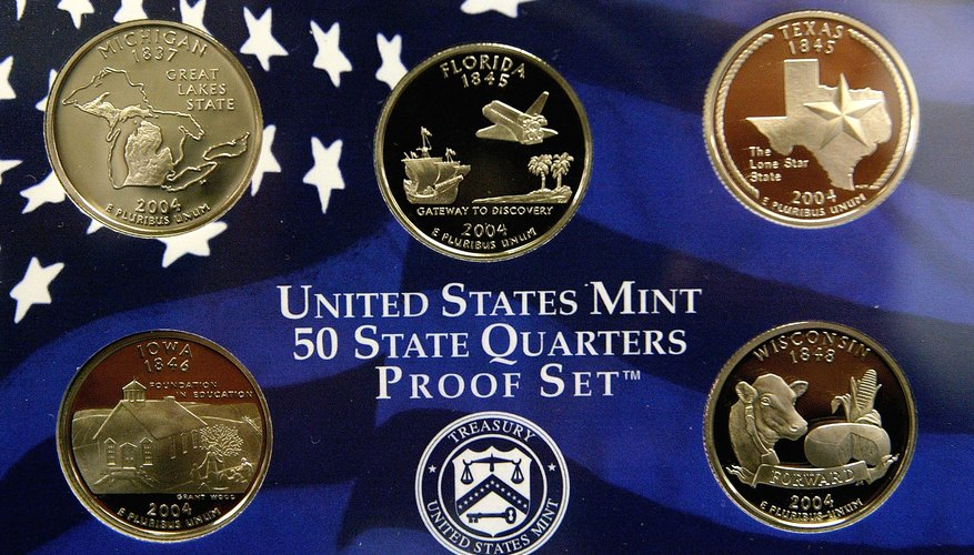 Detail of U.S. Mint 50 state quarter proof set
