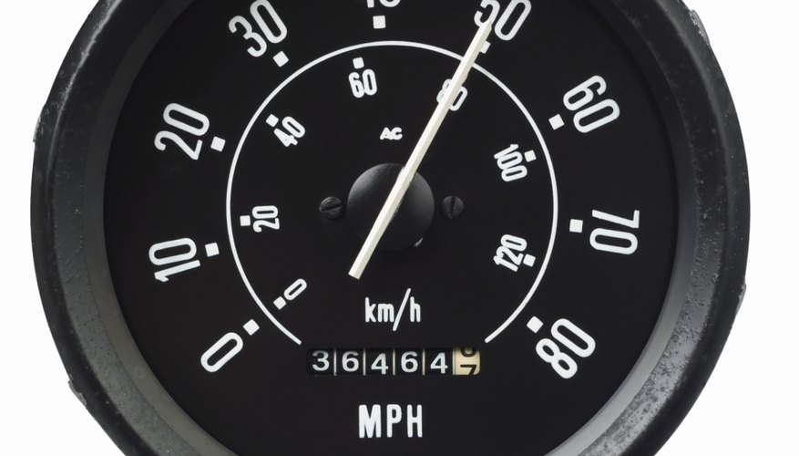 Close up of a speedometer