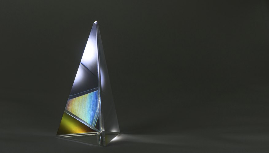 Light reflected in a glass pyramid