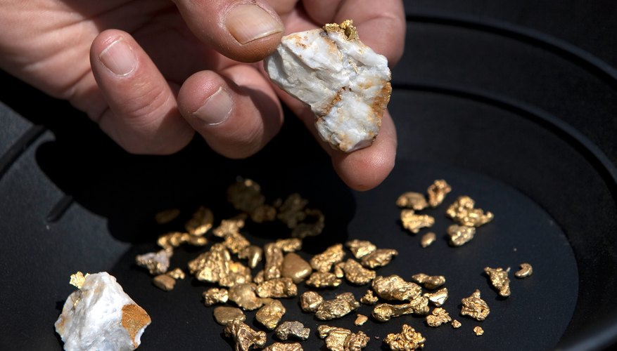 Pieces of quartz with gold and nuggets found by prospector in California