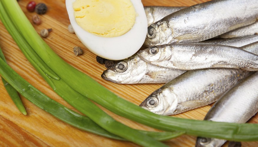 Sardines, egg and green onion