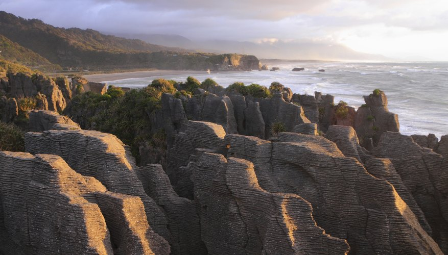 Weathered rock formations by the ocean